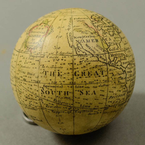 Nathaniel Hill 2.75-Inch Terrestrial Pocket Globe in Celestial Case, detail