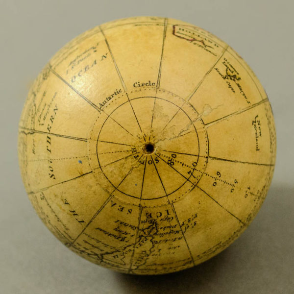 Nathaniel Hill 2.75-Inch Terrestrial Pocket Globe in Celestial Case, detail
