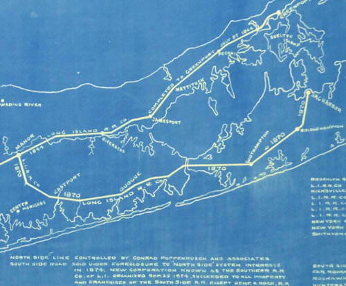 Map, Historical, Competitive Railroad Systems on Long Island Prior to 1876