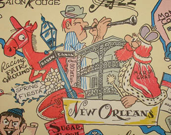 Pictorial Map, Louisiana and South Mississippi: Fabulous Wonderland