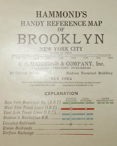 Wall Map, Hammond's Handy Reference Map of Brooklyn