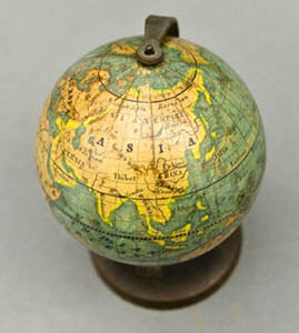 2.5-Inch Terrestrial Globe MPS, by Bauer Family, Nuremberg, detail