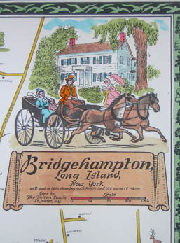 Pictorial Map, Bridgehampton, detail