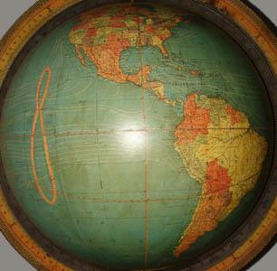 W. & A.K. Johnston/ Nystrom 18-Inch Terrestrial Floor Globe, detail