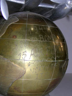 P-38L Airplane with Globe, detail