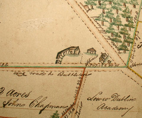 "This detail, which shows the location of the Lower Dublin Academy, also notes surveying stones at the corners of different tracts. Pointing hands note the ""Road to Bustleton"" and the ""Road to Biberry [Byberry]."" Buildings and a wooded area are indicated by small drawings."