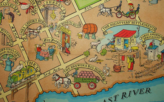 Cartoon Map Of New York City.Map New York City Pictorial Manhattan Depicting Bright Spots In