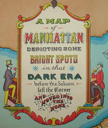 Pictorial Map, Manhattan Depicting Bright Spots in that Dark Era