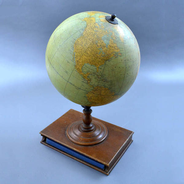 Rand McNally & Company 12-Inch Terrestrial Table Globe with Atlas inside the stand compartment