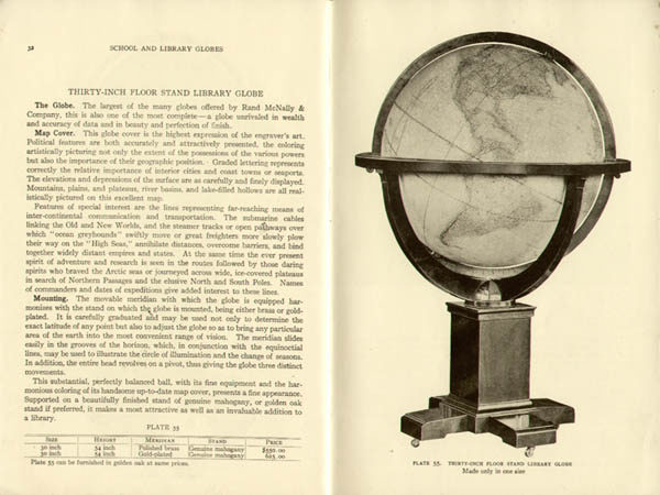 W. & A.K. Johnston/ Rand McNally 30-inch Terrestrial Floor Globe, catalog
