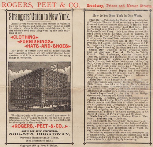 "Detail of back: Ad for Rogers, Peet & Co. and ""How to See New York in One Week."""