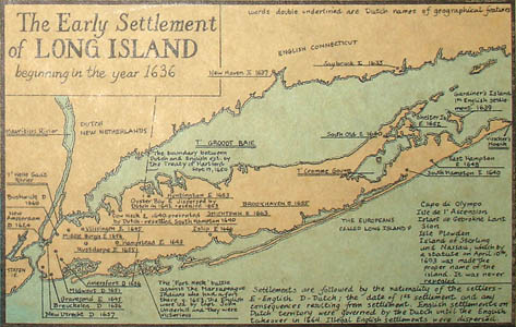 Inset map of The Early Settlement of Long Island