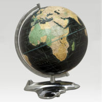 Weber Costello Black Ocean Globe with Art Deco Airplane Base