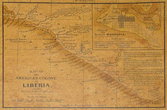 TInset map of Liberia and its main city Monrovia