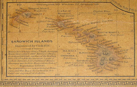 Inset map of Sandwich Islands (Hawaii)