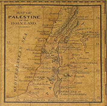 "Inset map of ""Map of Palestine or the Holy Land,"" present-day Israel and Jordan."