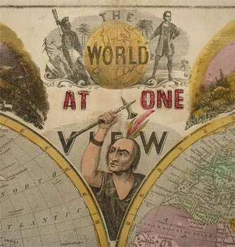 The World at One View Illustrated World Map