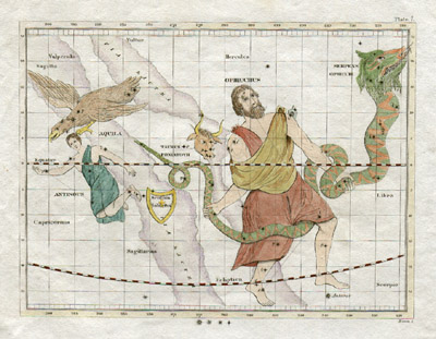Plate 7: Ophiuchus, Serpens, Taurus Poniatovii, Aquila and more