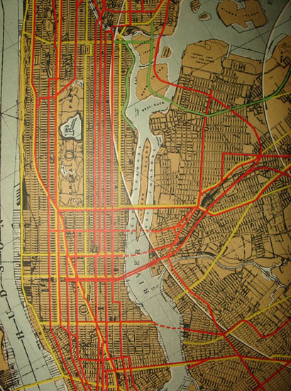 Detail of Manhattan, Brooklyn and Queens