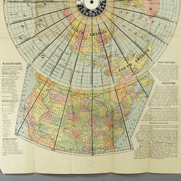 Isaac F. Pheils Map of the World with U. S. Supplement [Map Clock], map detail