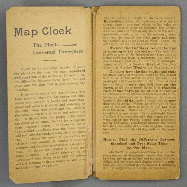 Isaac F. Pheils Map of the World with U. S. Supplement [Map Clock], booklet