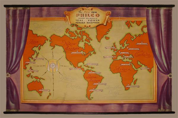Map world promotional short wave radio philco company vintage philco radio map gumiabroncs Images