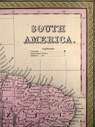 Map of South America detail