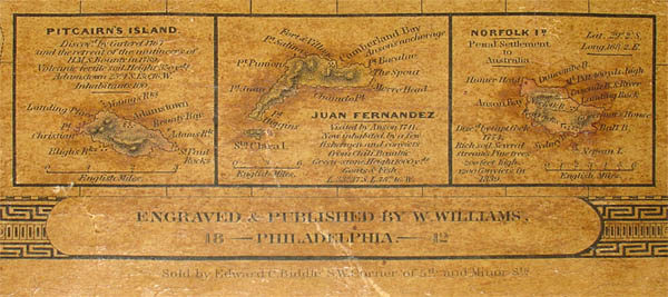 Bottom border with inset maps of Pitcairn's Island, Juan Fernandez and Norfolk Island.