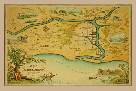 Pictorial Map, Chicago, Incorporated as a Town August 5, 1833
