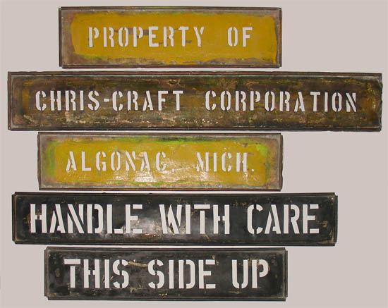 Maritime Signs, Brass Sheet Stencils, Chris-Craft Corporation