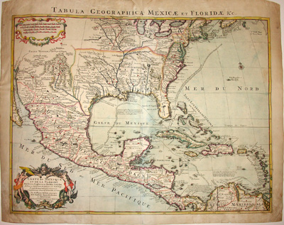 Map, Southeastern United States, Florida, Mexico, Tabula Geographica,  Covens & Mortier, Antique Print, Amsterdam, 1722