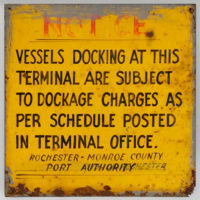 Maritime Sign, Vessels Docking Notice, Port of Rochester Terminal