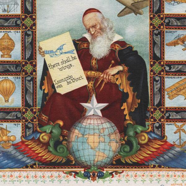 Szyk, Title Page Airmails of the World, Da Vinci Portrait, detail