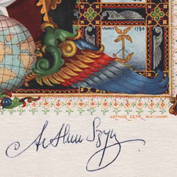 Szyk, Title Page Airmails of the World, Da Vinci Portrait, signature