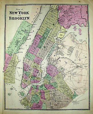 Map New York City Brooklyn F W Beers Antique Print 1867