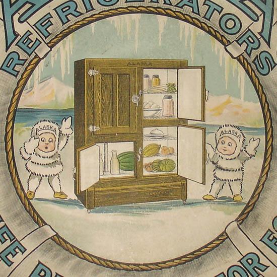 Alaska Cork Insulated Refrigerators Advertising Display Card
