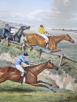 A Steeple Chase, With emulation fired they strain to lead the Field, top the barr'd gate, detail