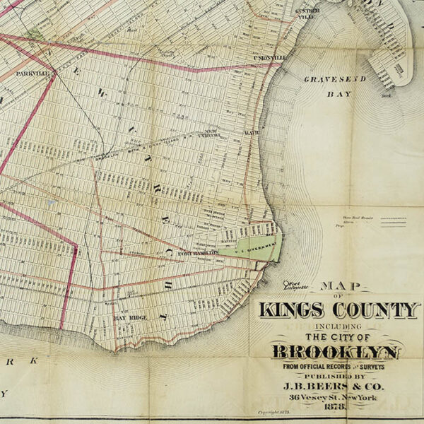 J.B. Beers & Company Map of Kings County Including the City of Brooklyn, detail