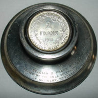 Belgian Two-Frank Piece Telecommunications Paperweight