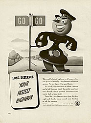 The Bell Telephone mascot appeared in various guises in company ads, such as this one in Life magazine, 1939.