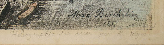 Artist's signature in matrix with inscription below