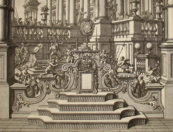 Detail above shows Jesus being led up the steps on the left, behind the elaborate fountain in the foreground.