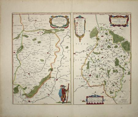 Descriptio Veromanduorum Auctore Ioanne Suthonio. Gallice Vermandois./ Gouvernement de la Cappelle par P. petit Bourbon.