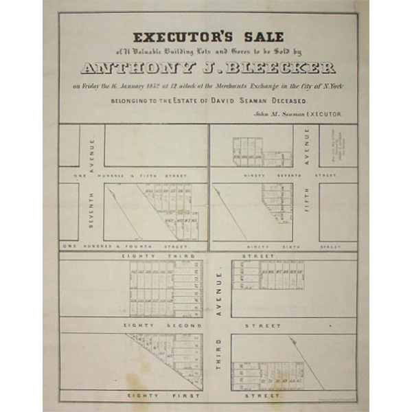 Executor's Sale of 71 Valuable Building Lots and Gores to be Sold by Anthony J. Bleecker