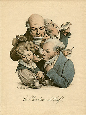 French Caricature of Coffee Drinkers