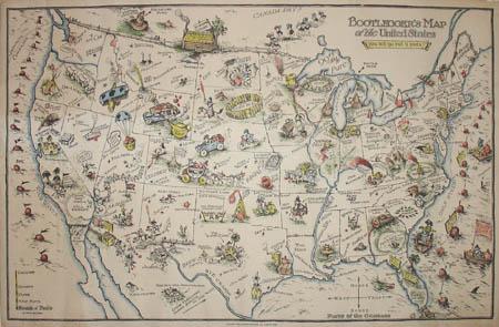Map United States Pictorial Bootleggers Edward McCandlish