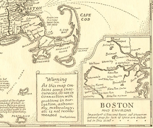 Map, Bostonian's Idea of the United States of America