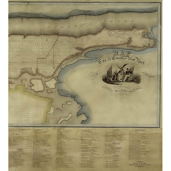 David Burr Wall Map, New York City and County, detail
