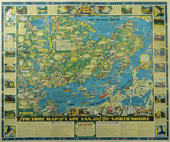 photo regarding Printable Map of Massachusetts known as Map, Machusetts, Cape Ann and the North Shore, Pictorial, Typical Print, 1934