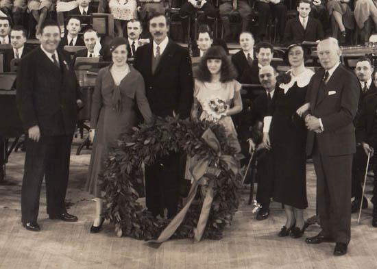 Detail showing, from left, Ernest Schelling, Lucrezia Bori, John McCormack, Guila Bustabo and Charles Triller.